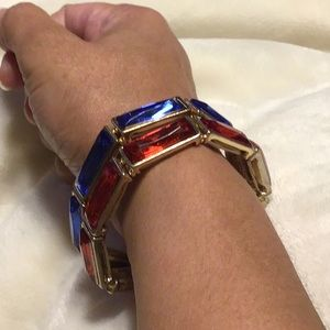 Red & Blue Gold Tone Stretch Bracelet ♥️